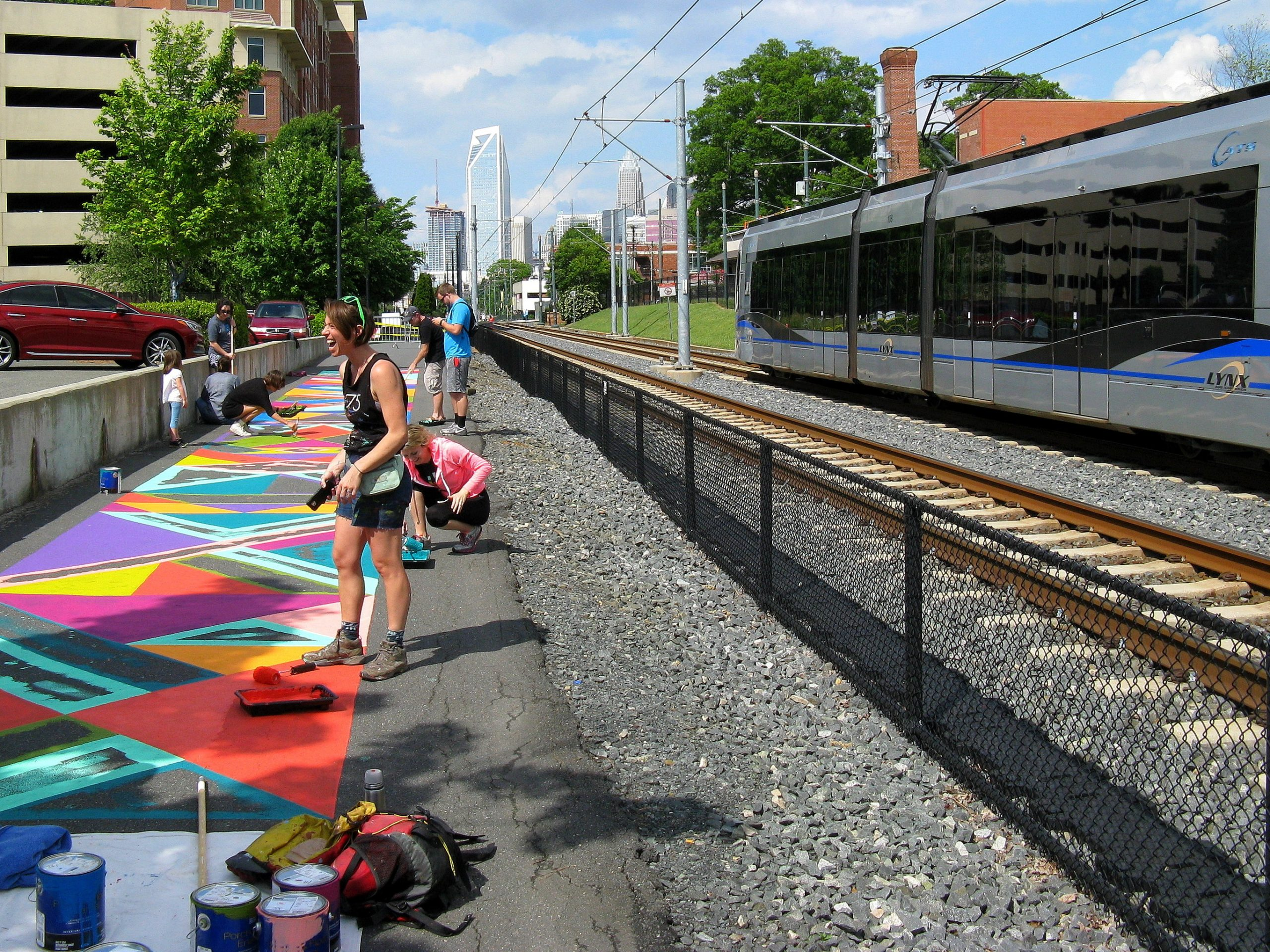 art and visitors at charlotte rail trail